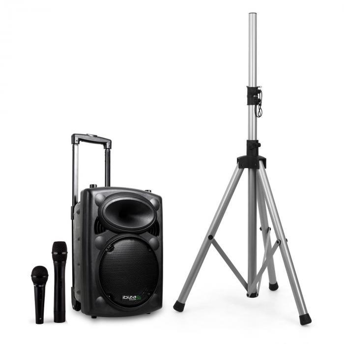Ibiza Port8VHF-BT, przenośna kolumna nagłośnieniowa, Bluetooth, USB, SD, 200W RMS, stojak na kolumnę