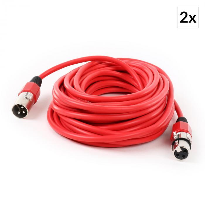 XLR-Kabel Set 2 Stück 10m rot männlich zu weiblich