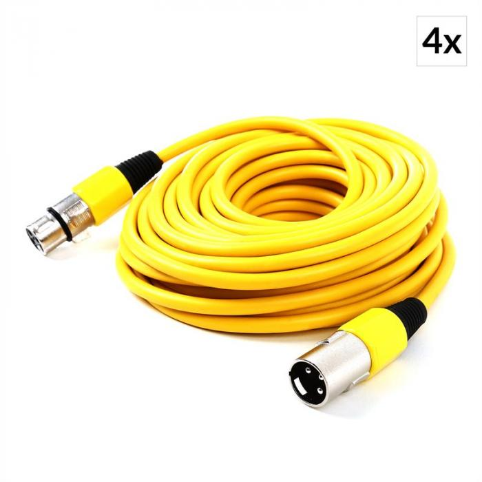 XLR Cable Set 4-Piece 10m Yellow Male to Female