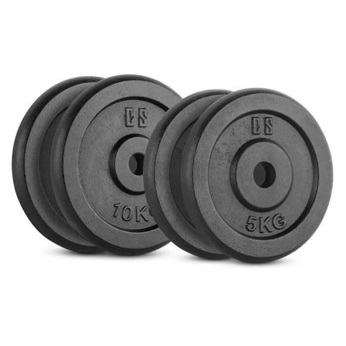 IPB 30kg Set Piastre Peso 2 x 5 kg + 2 x 10 kg 30 mm