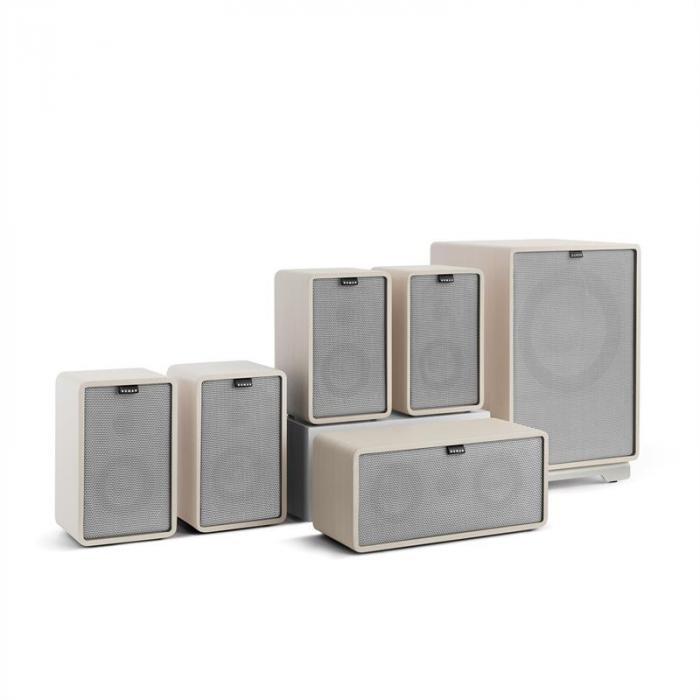 Retrospective 1979-S 5.1 -äänentoistojärjestelmä valkoinen suojus harmaa