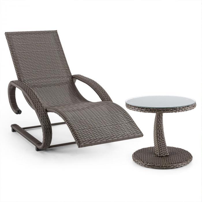 Daybreak aurinkotuoli + pöytä setti punosjäljitelmää harmaanruskea