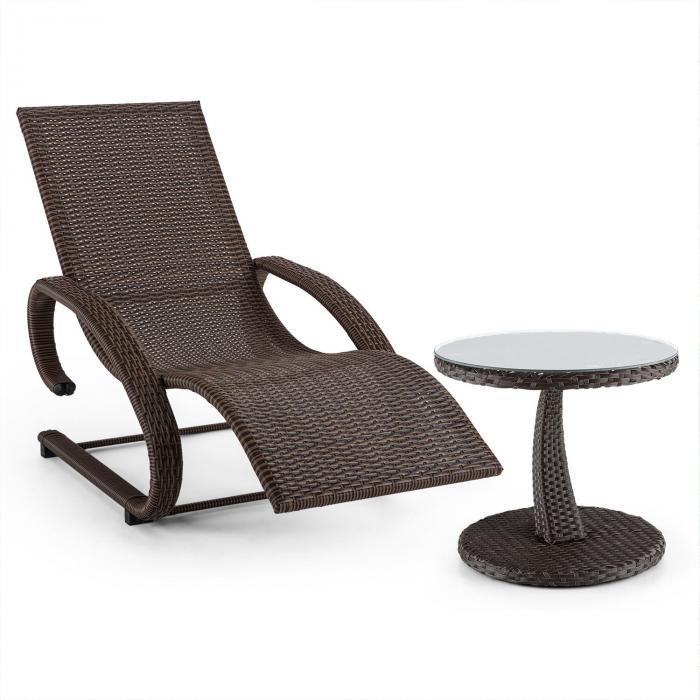 Daybreak Leżak bujany + stolik imitacja plecionki kolor brązowy