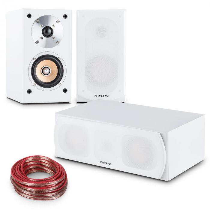 Linie-501 set de altavoces 2 x altavoz de estantería - 1 x central - cable de 10m blanco