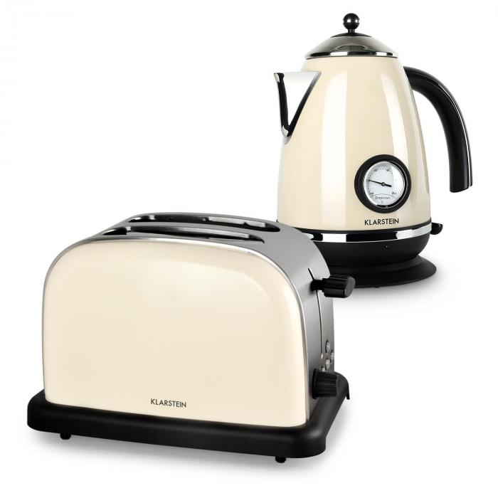 Aquavita Breakfast Set Cream Electric Kettle Toaster Cream
