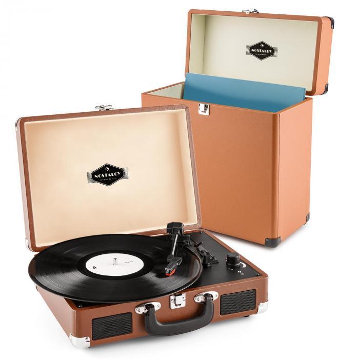 Auna Peggy Sue Record Collector   Gramofon w stylu retro z walizką na płyty winylowe   zestaw w kolorze brązowym
