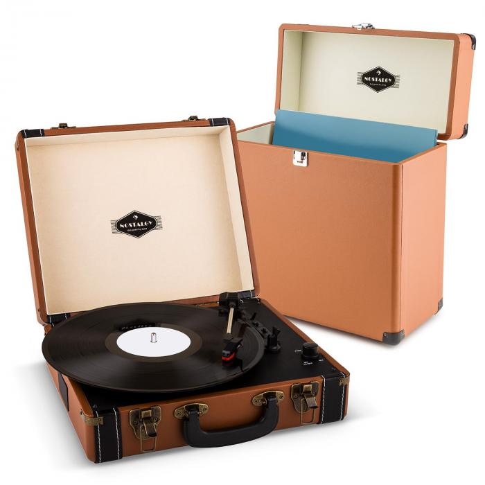 Auna Jerry Lee Record Collector   Gramofon w stylu retro z walizką na płyty winylowe   zestaw w kolorze brązowym
