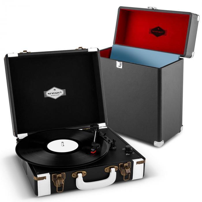 Auna Jerry Lee Record Collector   Gramofon w stylu retro z walizką na płyty winylowe   zestaw w kolorze czarnym