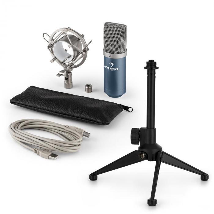 MIC-900BL USB mikrofonisetti V1 | sininen kondensaattorimikrofoni | pöytäpidike