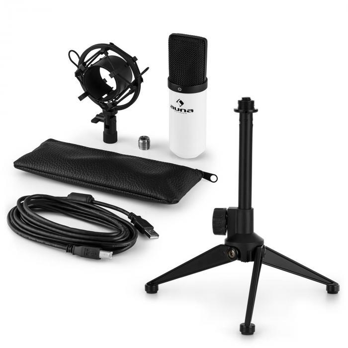Auna MIC-900B USB microfoonset V1 | witte condensatormicrofoon | tafelstatief