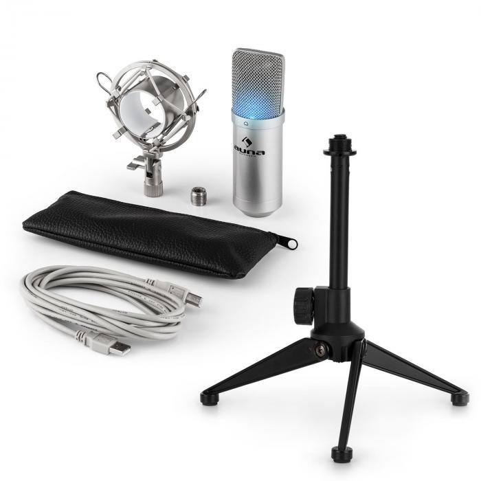 Auna MIC-900S-LED USB mikrofonisetti V1 | hopeinen kondensaattorimikrofoni | statiivi