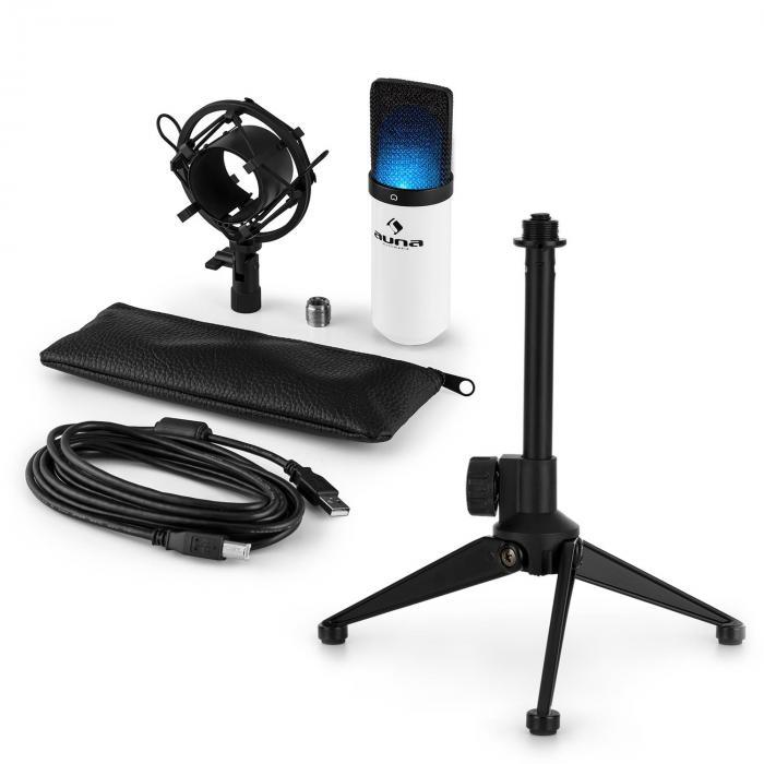 MIC-900WH -LED USB Set Microfono V1 | Condensatore-Microfono bianco | Stativo