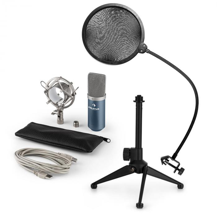 Auna MIC-900BL USB microfoonset V2 | condensatormicrofoon | plopbescherming | tafelstatief