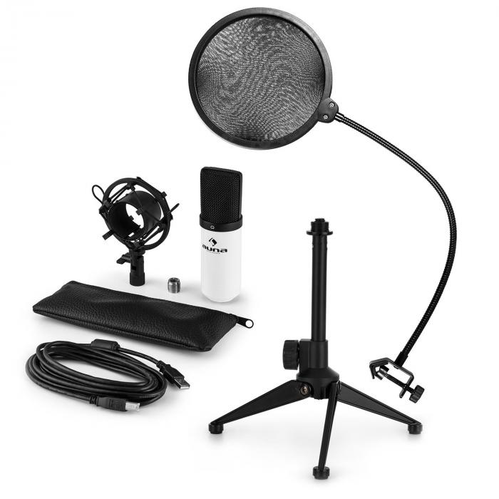 MIC-900WH USB Microphone Set V2 | Condenser Microphone | Pop shield| Tabletop Stand