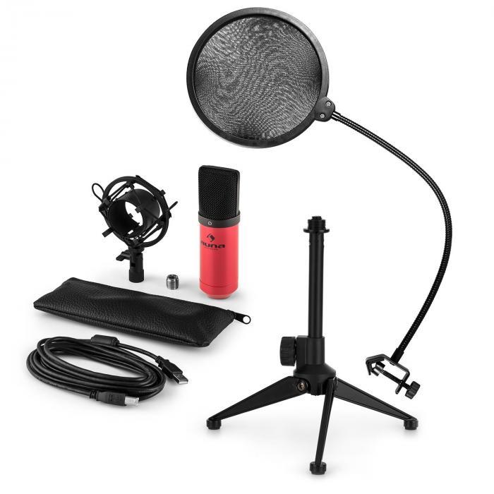 Auna MIC-900RD-LED USB microfoonset V2 | 3-delige microfoonset met tafelstatief