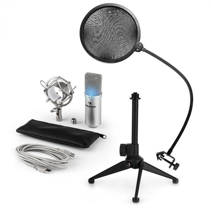 Auna MIC-900S-LED USB mikrofonisetti V2 | 3-osainen mikrofonisetti pöytästatiivi