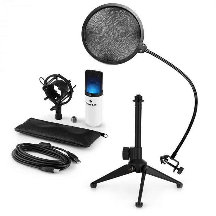 MIC-900WH-LED USB Set Microfono V2 | Set Microfono in 3 Parti con Stativo da Tavolo