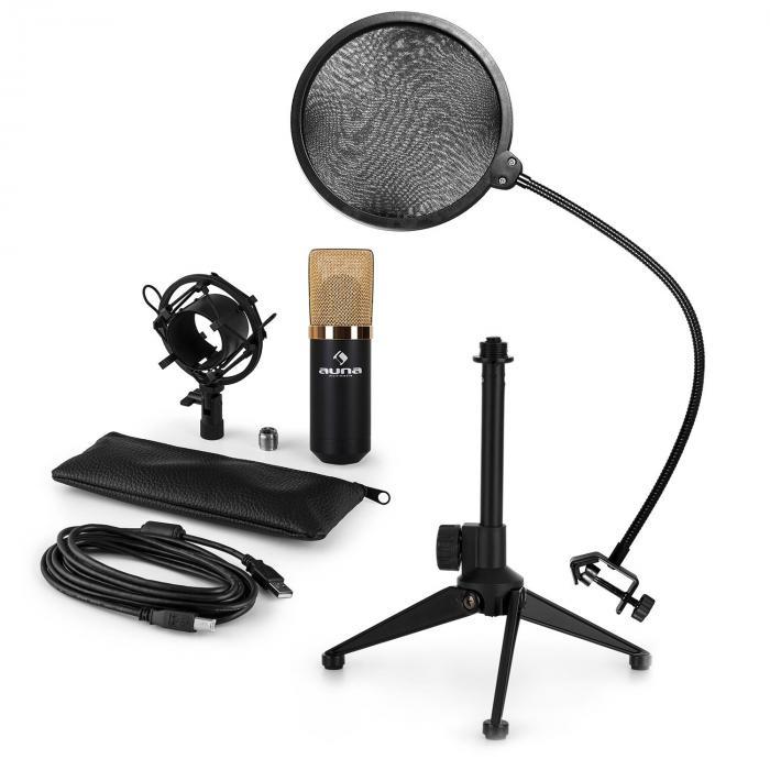 Auna MIC-900BG-LED USB mikrofonisetti V2 | 3-osainen mikrofonisetti pöytästatiivi