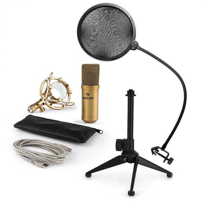 Auna MIC-900G-LED USB mikrofonisetti V2 | 3-osainen mikrofonisetti pöytästatiivi