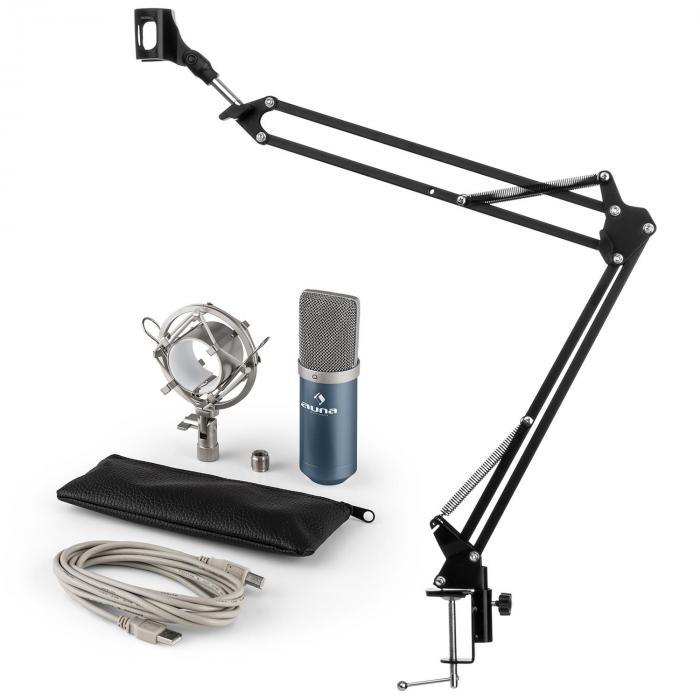 MIC-900BL Set Microfono USB V3 Microfono A Condensatore + Braccio Microfono Cardioide Blu