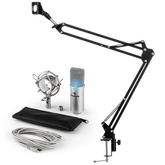 Auna MIC-900S-LED USB mikrofonisetti V3 kondensaattorimikrofoni + mikrofoniteline LED hopea