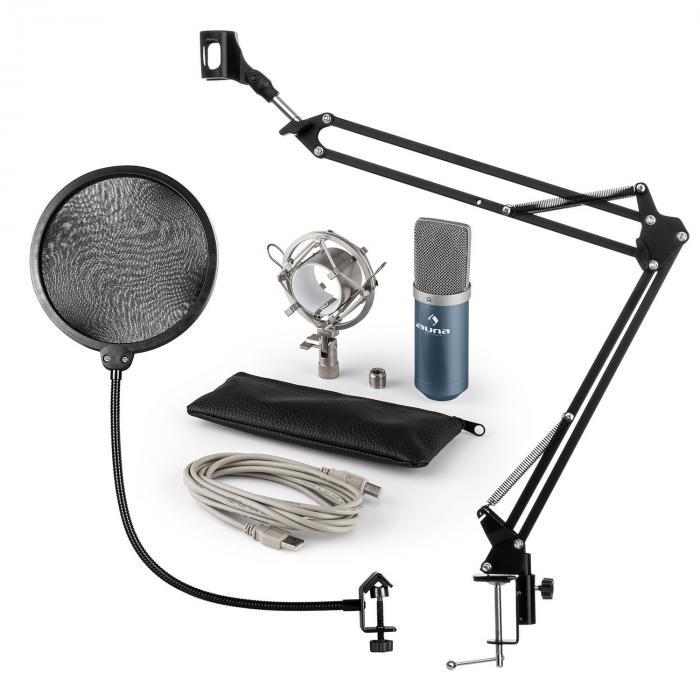 MIC-900BL USB microfoonset V4 condensatormicrofoon plopbescherming microfoonarm - blauw