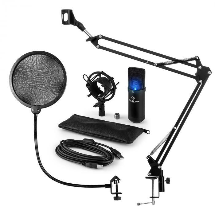 MIC-900B-LED USB mikrofonisetti V4 kondensaattorimikrofoni Pop-suoja mikrofonipidike LED