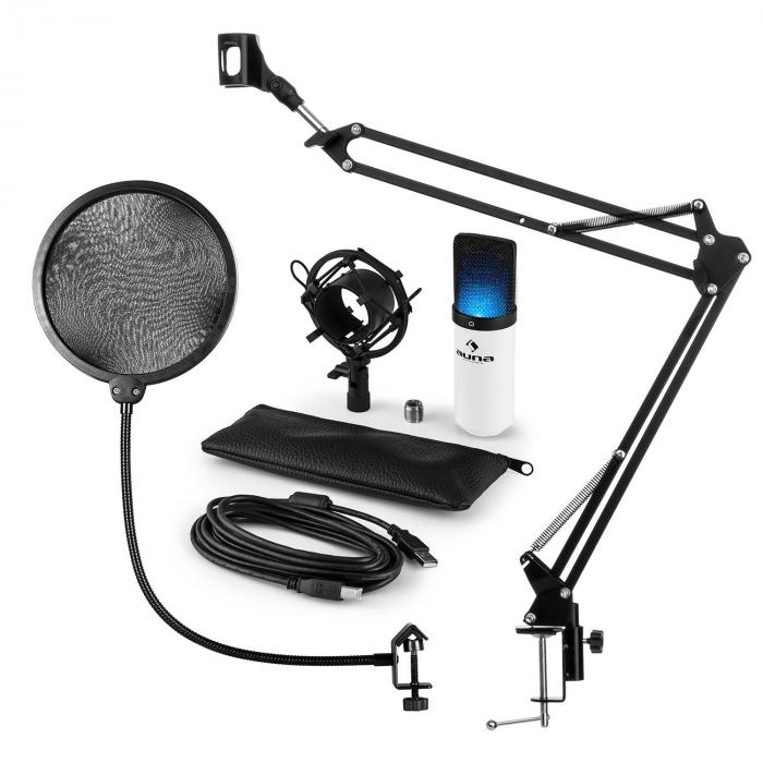 MIC-900WH-LED Set Microfono USB V4 Condensatore Anti-Pop Braccio LED bianco
