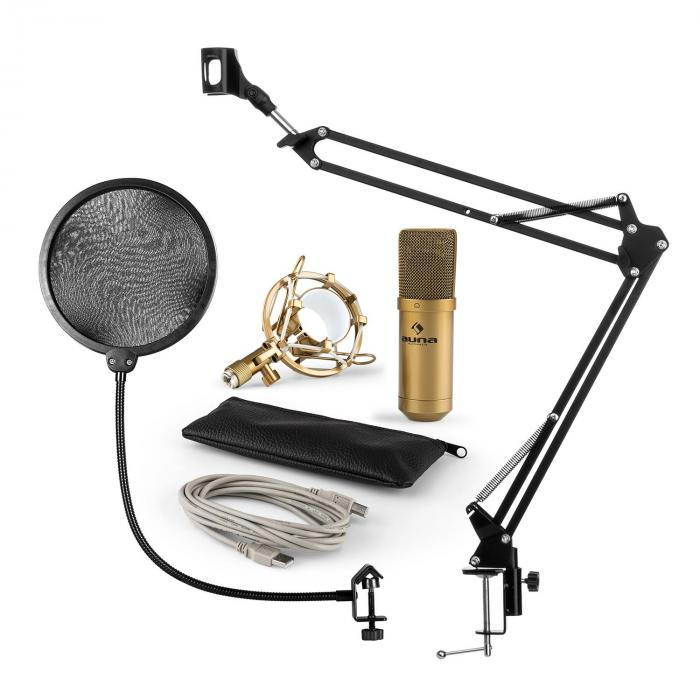MIC-900G USB Microphone Set V4 Condenser Microphone Pop Shield Microphone Arm gold