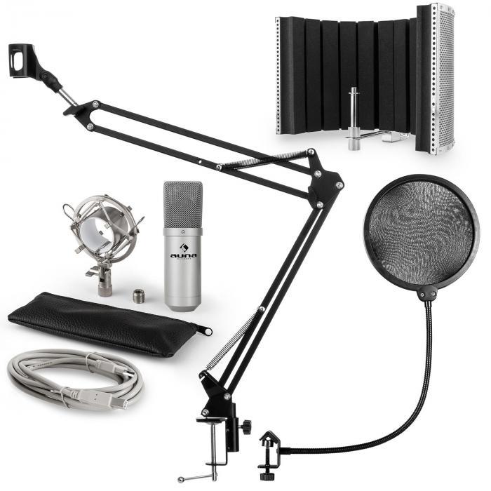 MIC-900S USB Mikrofonset V5 Kondensator Pop-Schutz Mikroschirm Arm silber