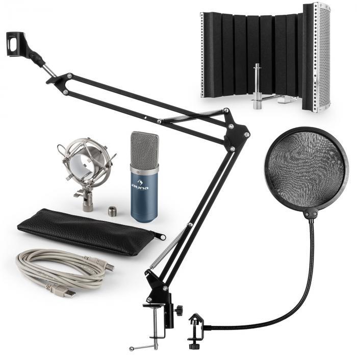 MIC-900BL Set per Microfono USB V5 Condensatore Filtro Antipop Schermo Braccio Blu