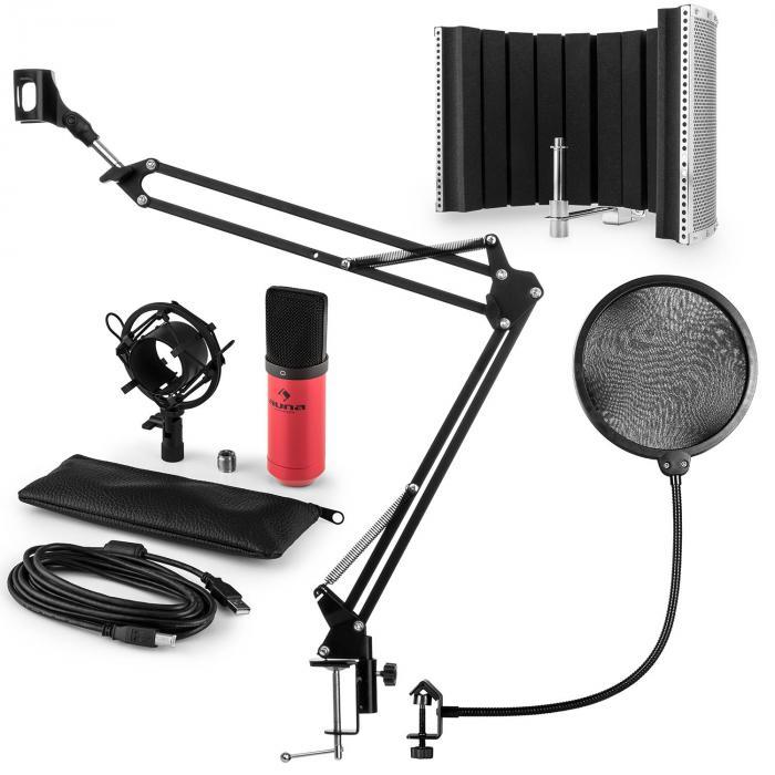 MIC-900RD USB microfoonset V5 condensator plopbescherming microfoonscherm & arm - rood