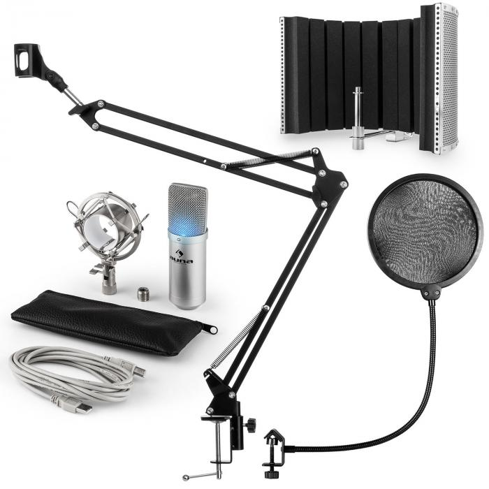 MIC-900S-LED Set Microfoni USB Condensatore V5 Anti-Pop Argento