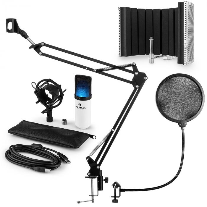 MIC-900WH-LED Set Microfoni USB Condensatore V5 Anti-Pop Bianco