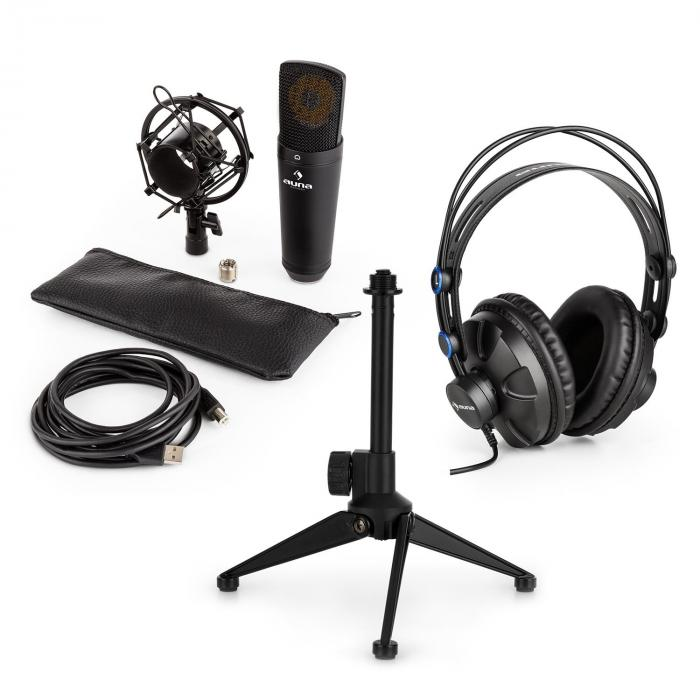 Auna MIC-920B USB microfoonset V1 koptelefoon condensatormicro statief