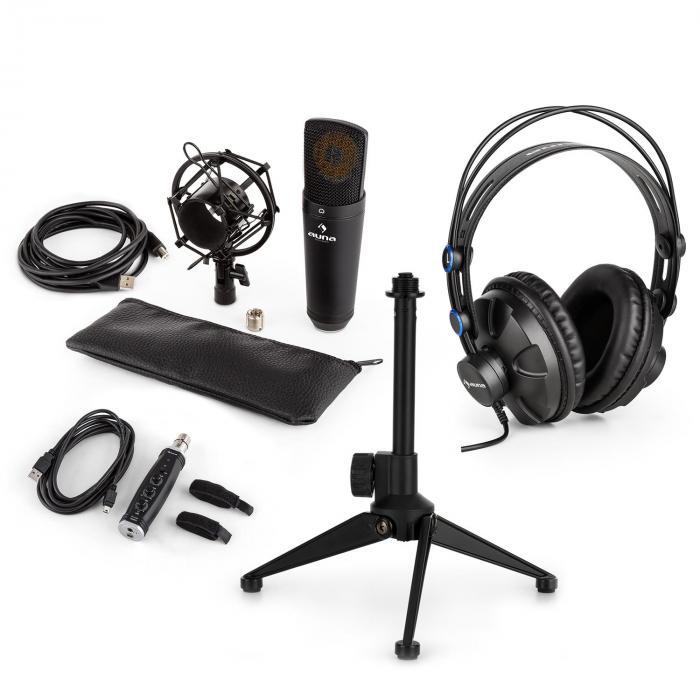 Auna MIC-920B USB microfoonset V2 koptelefoon condensatormicro statief plopbescherming