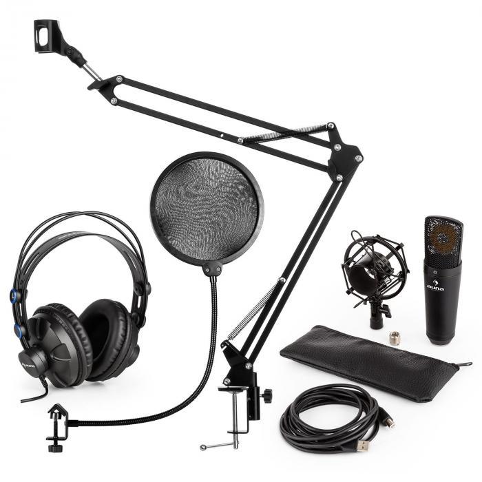 MIC-920B Set per Microfono USB V4 Cuffie Microfono Braccio per Microfono Filtro Antipop