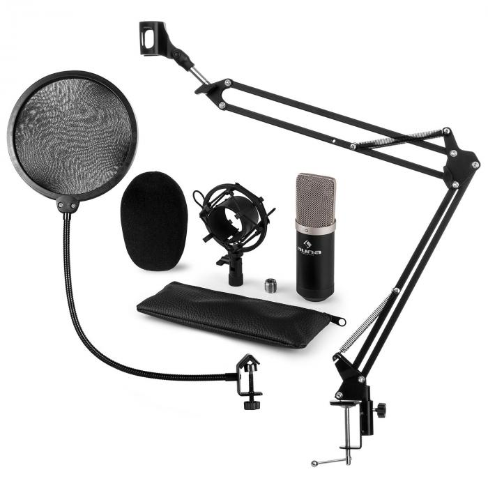 CM003 Microphone Set V4 Condenser Microphone XLR Microphone Arm POP Protection Black