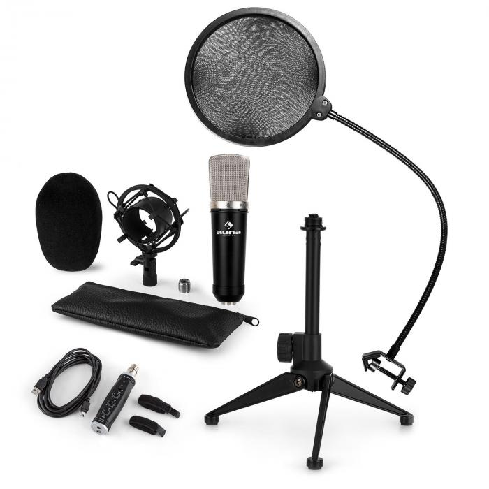 CM003 Microphone Set V2 Condenser Microphone USB Converter Microphone Stand POP Protection