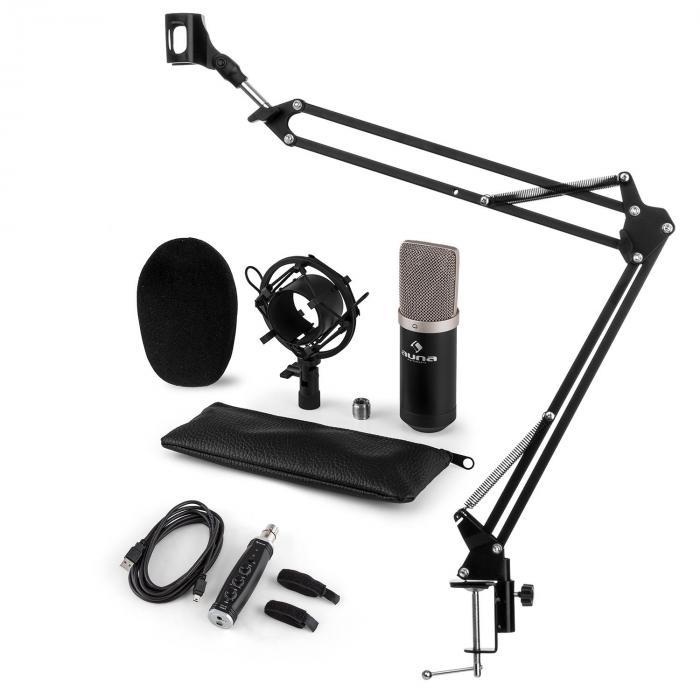 CM003 Set Microfono V3 Condensatore Convertitore USB Braccio nero