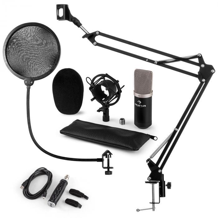 auna CM003 Set para Microfones V4 Condensador Conversor USB Braço de Apoio Preto