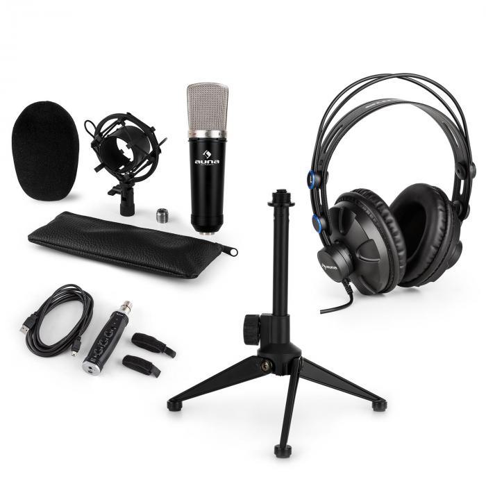 Auna CM003 microfoonset V1 condensatormicrofoon USB converter koptelefoon