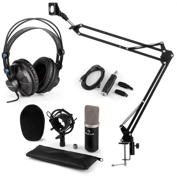 Auna CM003 microfoonset V3 condensatormicrofoon USB converter koptelefoon - zwart