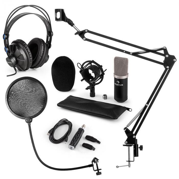 CM003 microfoonset V4 condensatormicrofoon USB converter koptelefoon - zwart