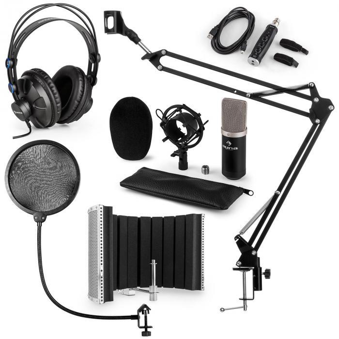 CM003 microfoonset V5 condensatormicrofoon USB converter koptelefoon - zwart