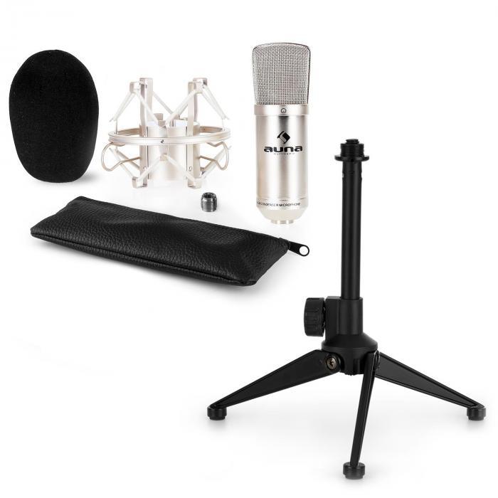 CM00B Set de micrófono V1 Micrófono de estudio plateado Araña Soporte de mesa