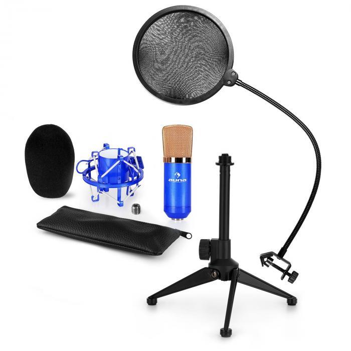 Auna CM001BG mikrofonisetti V2 kondensaattorimikrofoni mikrofonistatiivi POP-suoja sininen