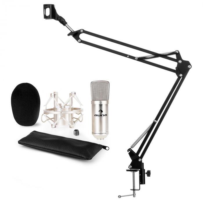 Auna CM001S microfoonset V3 condensatormicrofoon microfoonarm - zilver