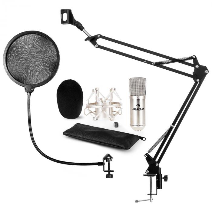 CM001S Microphone Set V4 Condenser Microphone Microphone Arm POP Protection Silver