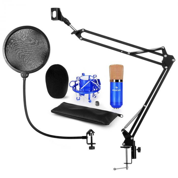 CM001BG Microphone Set V4 Condenser Microphone Microphone Arm POP Protection Blue